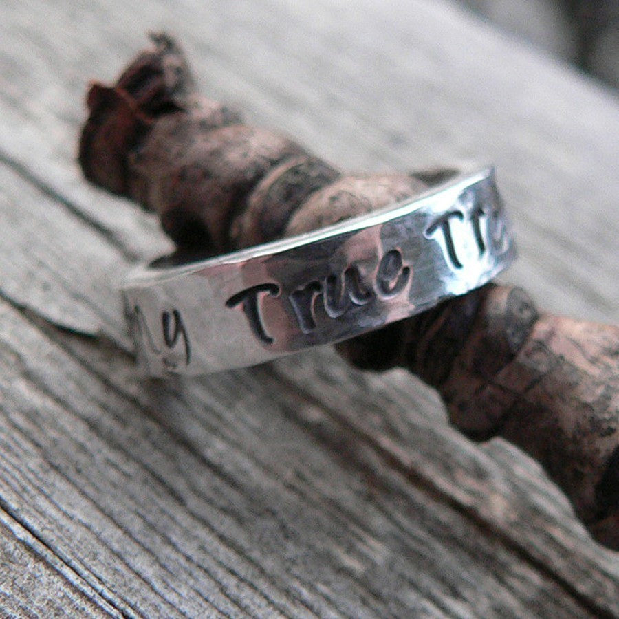 HIS and HERS - Custom Sterling Silver Hand Stamped Rings - 11 FONT Choices