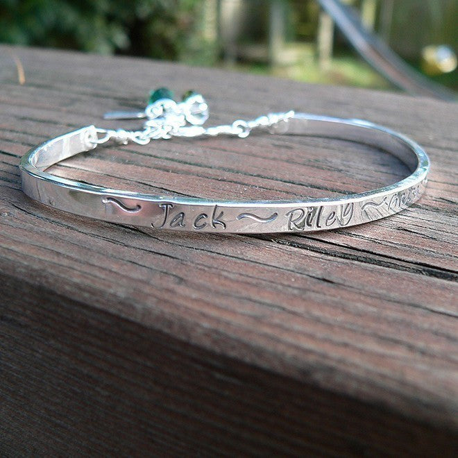 Stamped Sterling Mothers or Phrase Cuff Bracelet - 11 font choices