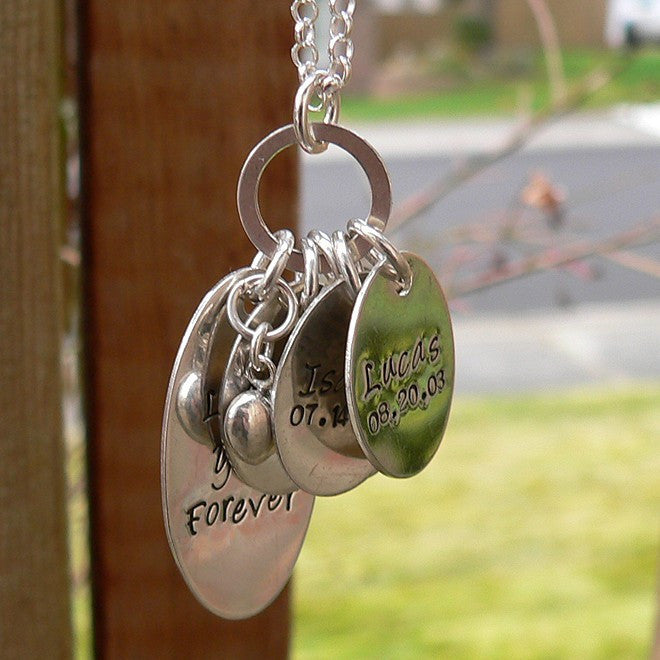 Love You Forever...Custom Sterling Mothers Necklace (5 tags)