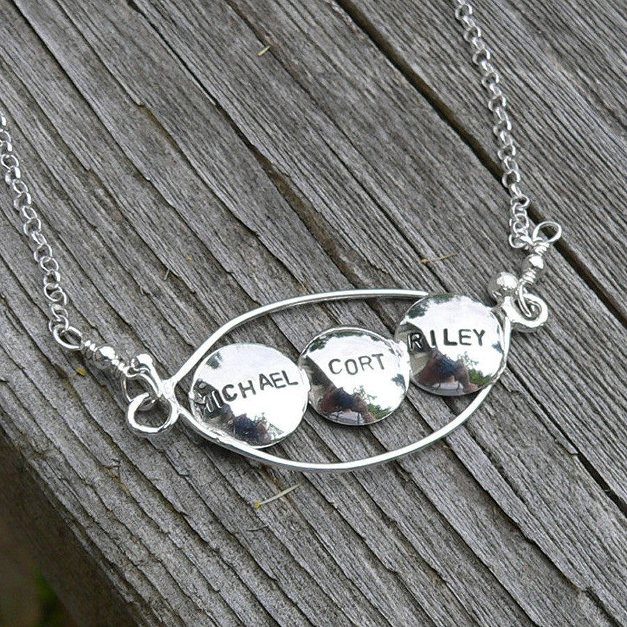 Personalized Peapod Necklace (3 peas)