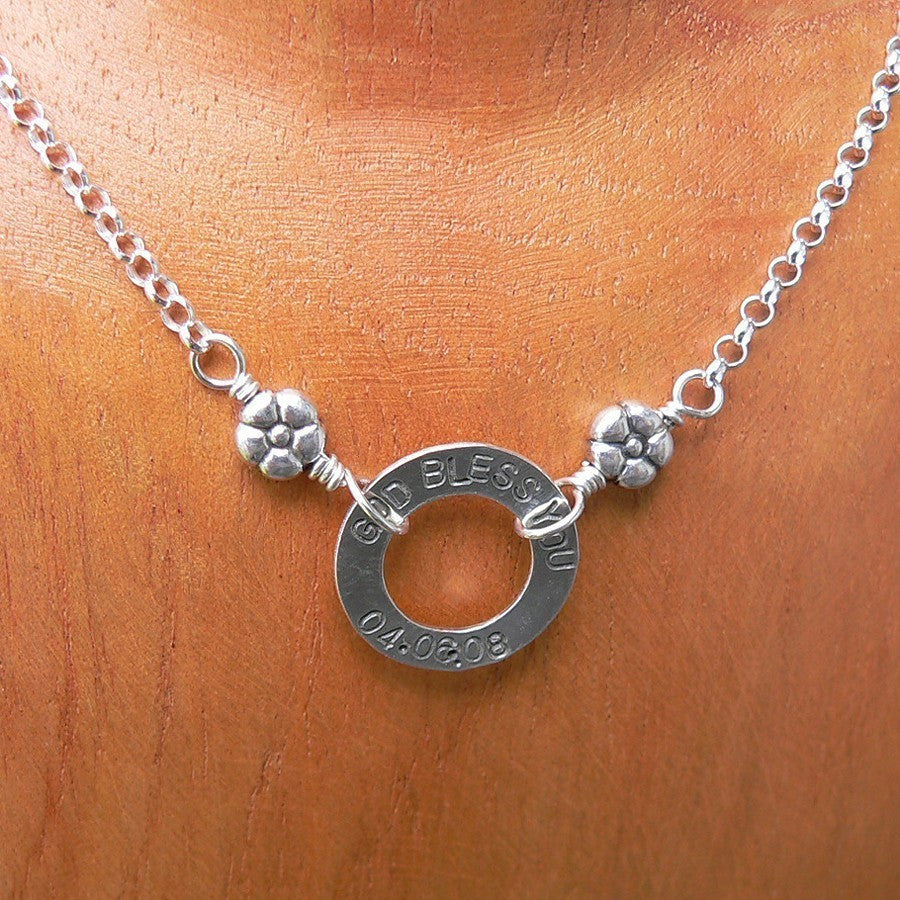 Petite Custom Circle Name\/Mothers Necklace