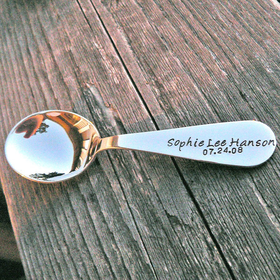 Custom Stamped Solid Sterling Toddler Spoon & Fork SET