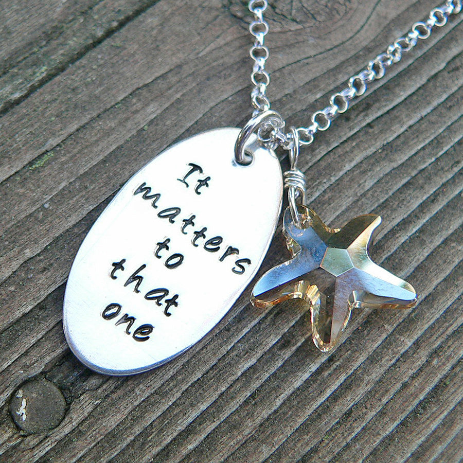 The Starfish Story Necklace - solid sterling and crystal