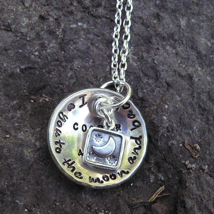 Love You to the Moon... solid sterling necklace