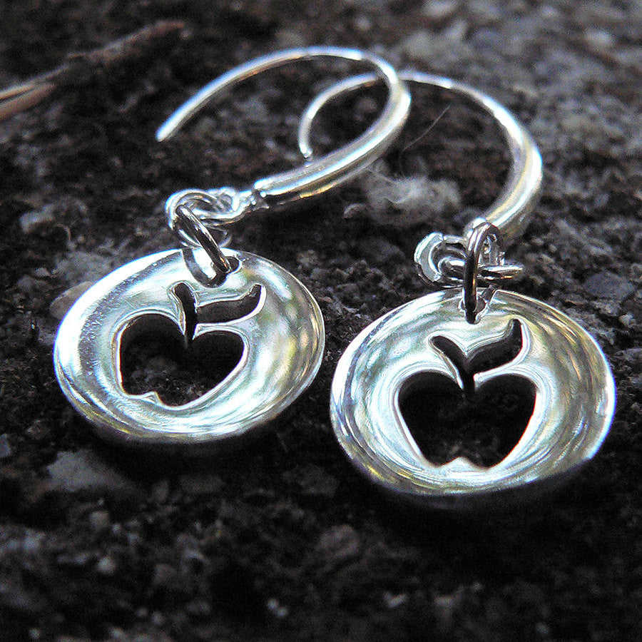 Cute Apple Cutout Earrings - Solid Sterling