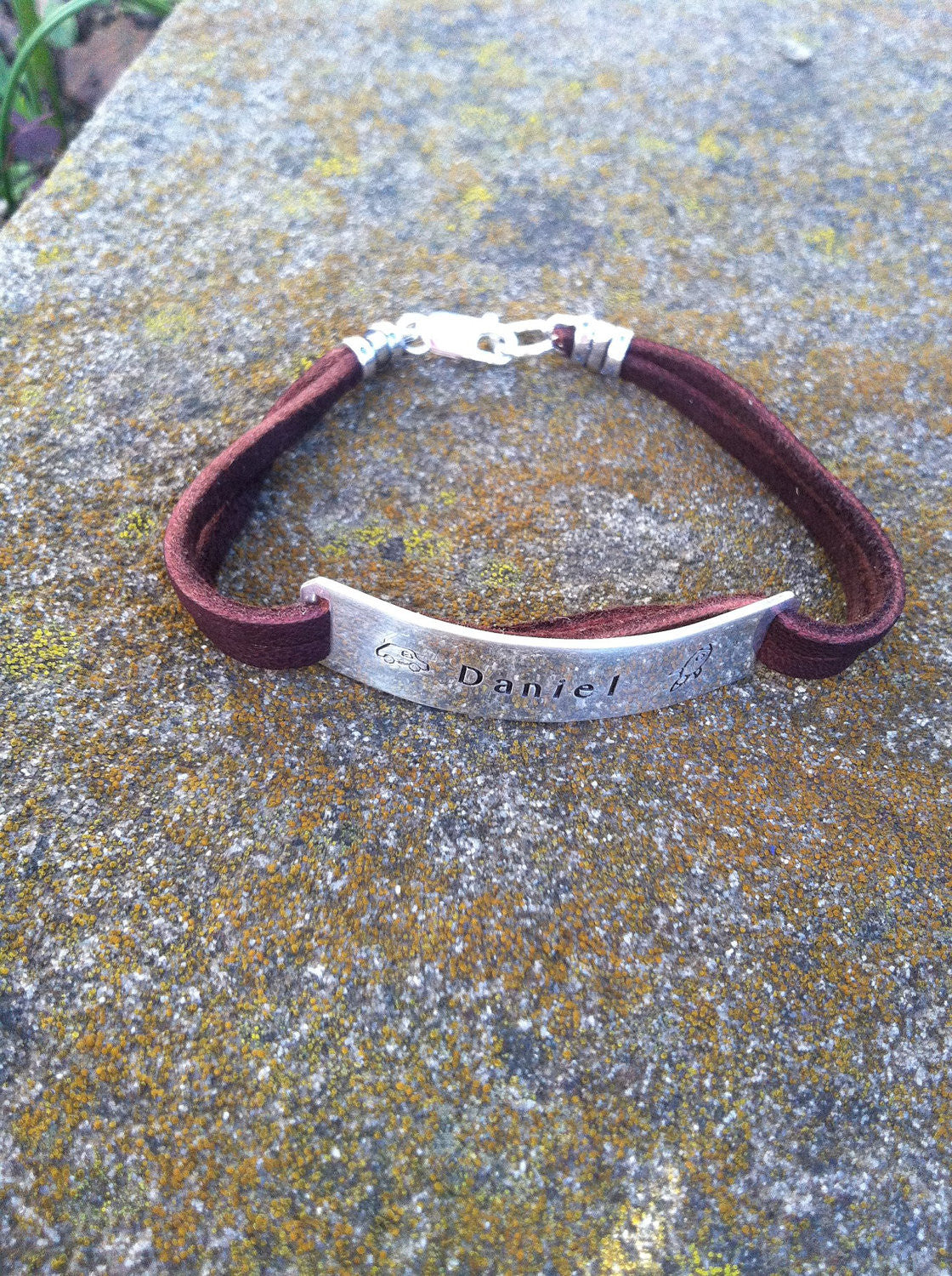 Boys Men or Unisex Sterling and Deerskin Classic Bracelet