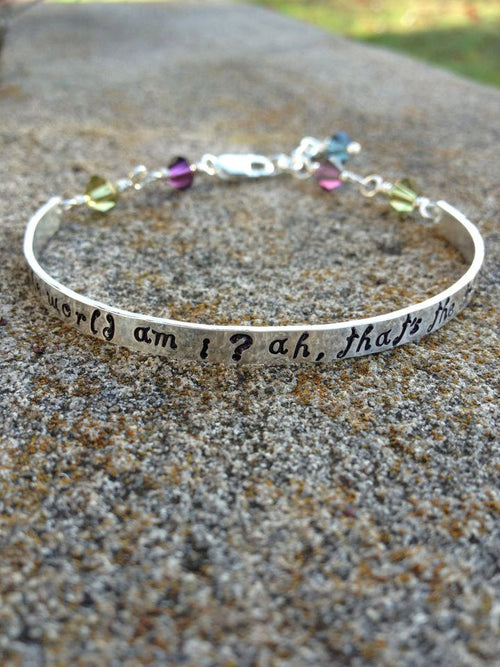 Whimsical Custom Stamped Sterling Demi Cuff with Swarovski Crystals