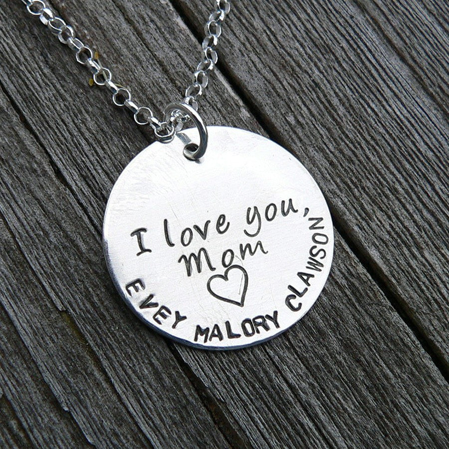 We Love You Mom...Custom Sterling Mother's Necklace
