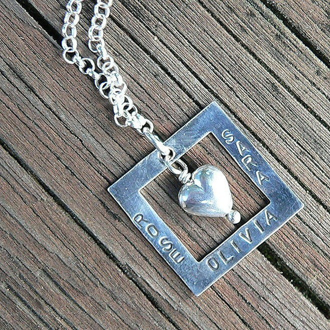 Squared Away Heart - Custom Mother's Necklace - 6 font choices