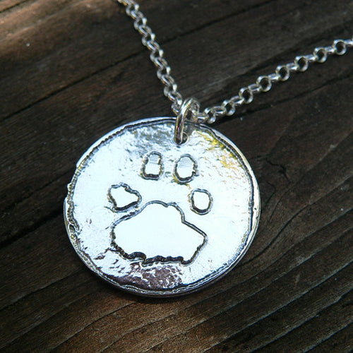 I Wear Your PawPrint on my Heart - Sterling Pendant Customized with Your Pet's Actual Pawprint