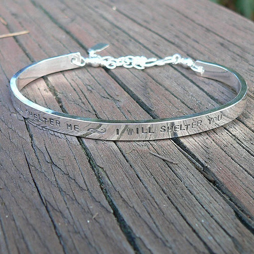 Extra-Thick Custom Sterling Silver Stamped Clasped Cuff Bracelet