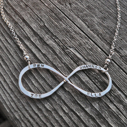 Custom Infinity Necklace - Your Choice of Names\/Words - 2 Fonts
