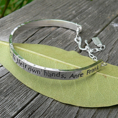 Womens Extra-Thick Custom Stamped Cuff Bracelet - 14 Font Choices