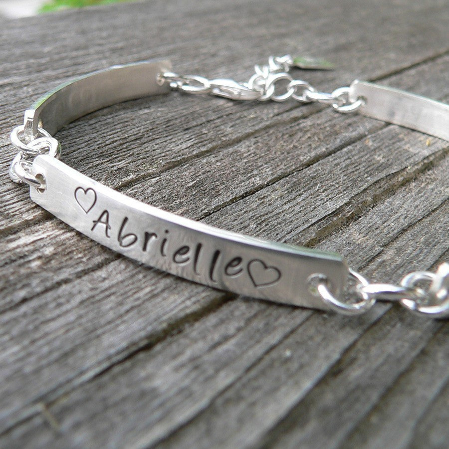Stamped Sterling Link Bracelet - Thick - Customize Words, Font