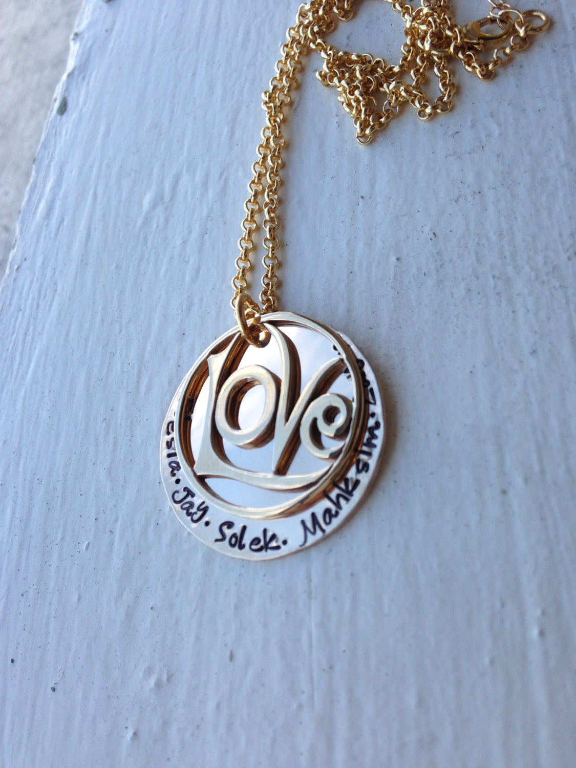 Love All Around...Custom 14k Gold Filled Name Necklace... Hand Stamped