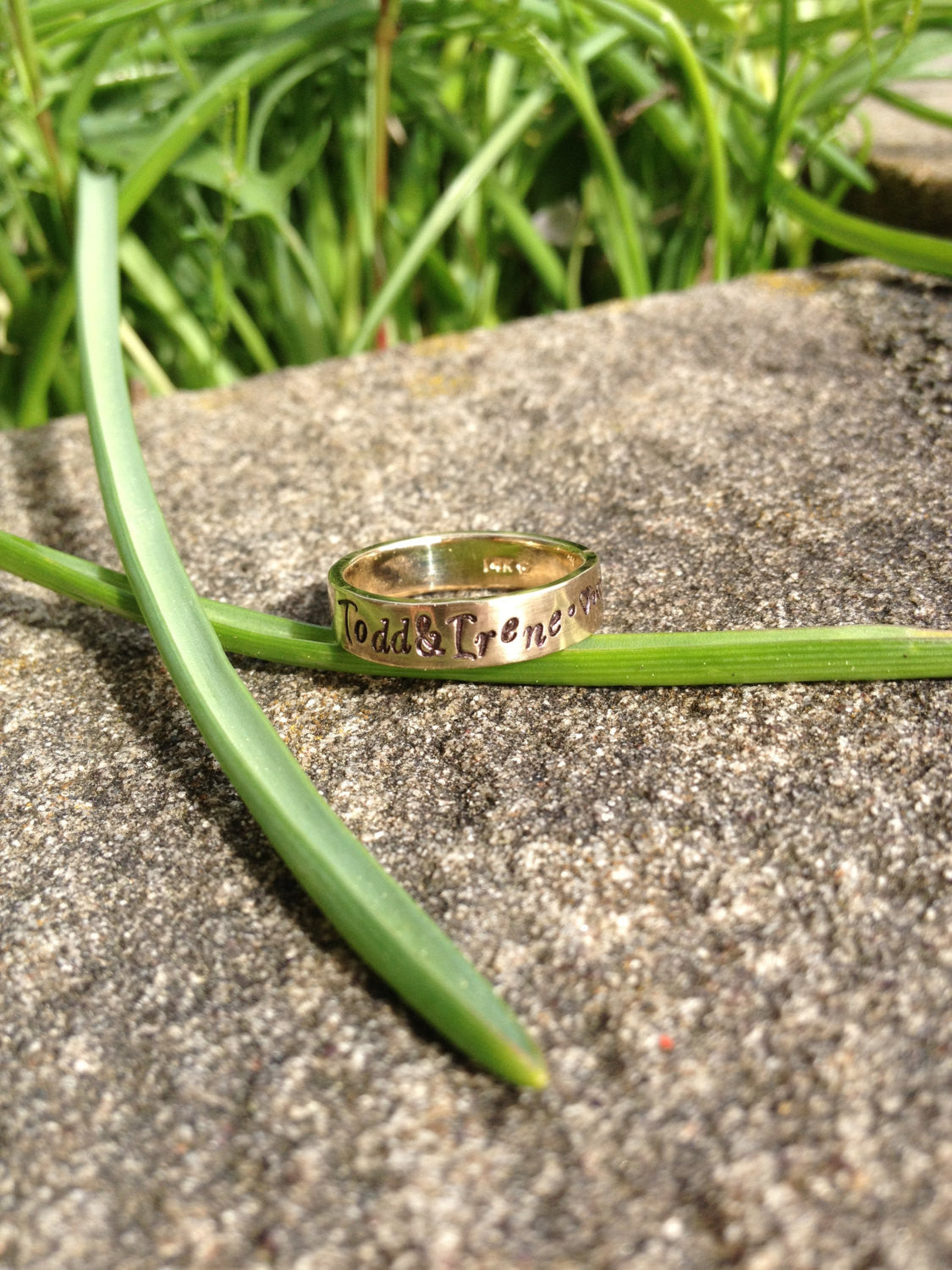 Custom SOLID 14k Yellow Gold Hand Stamped Ring - choice of 14 fonts