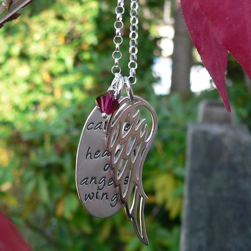 Carried to Heaven on Angel's Wings  - Custom Sterling Loss Necklace