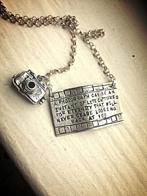 Capture Life - Solid Sterling Silver Filmstrip Photography Necklace with Openable Camera