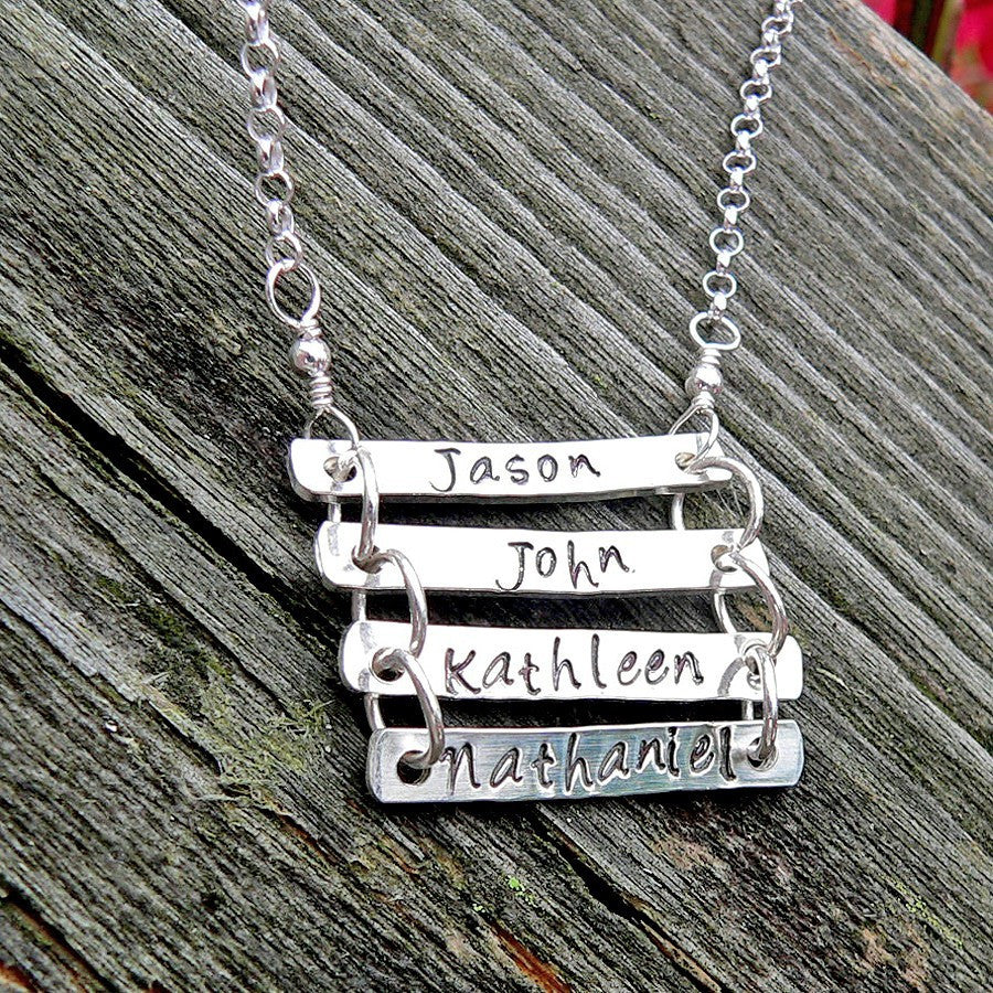 Solid Sterling Ladder Necklace - Custom Words/Names with choice of font