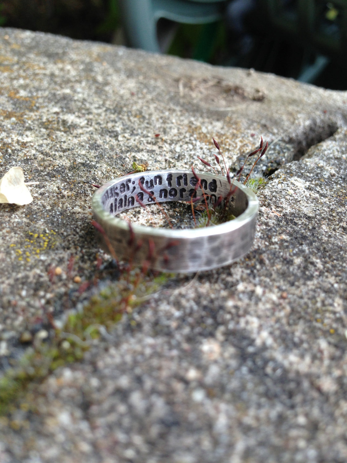 Custom Sterling Silver Hand Stamped Ring - medium weight