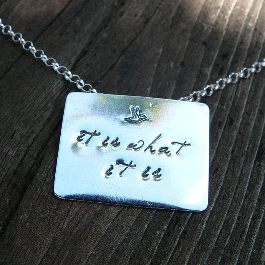 Poetry Pendant...custom stamped with your phrase in solid sterling