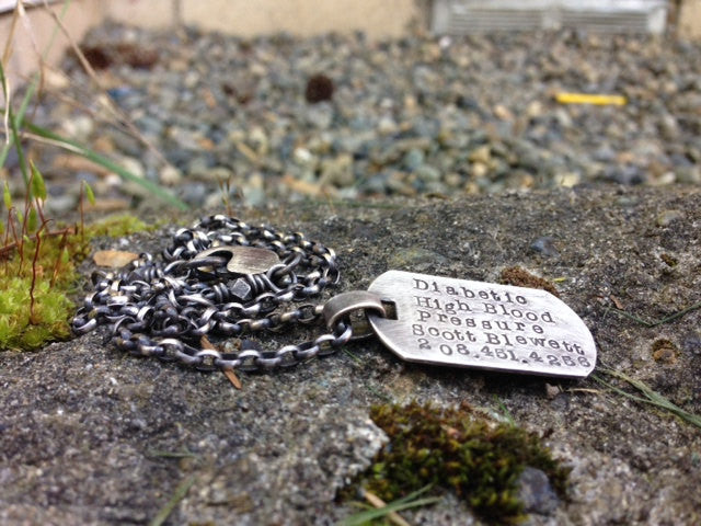 Original Sterling Medic Alert Necklace...choice of FONTS, leather or sterling chain.