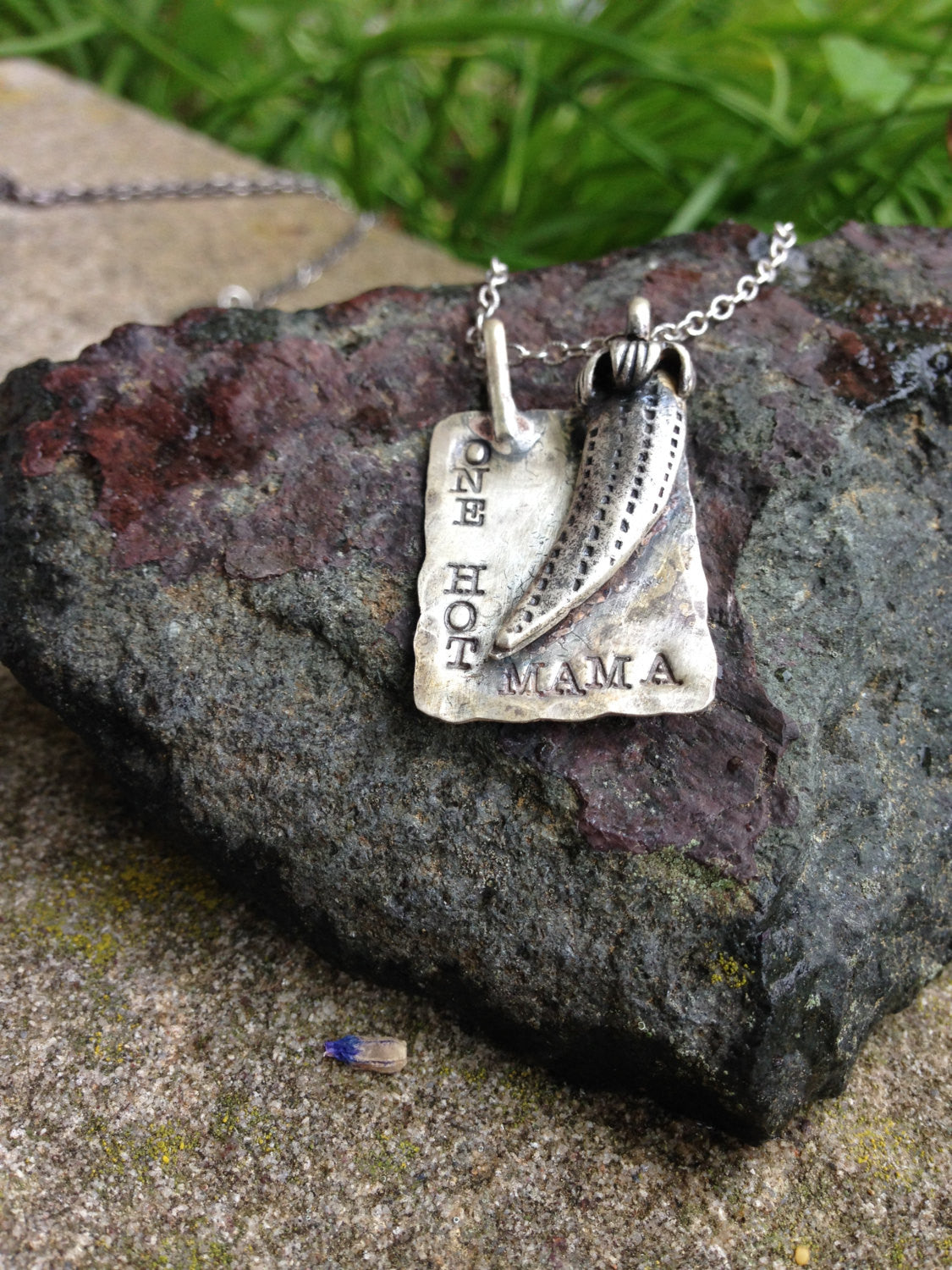 One Hot Mama - Solid Sterling Silver Rustic Chili Pepper hot forged necklace