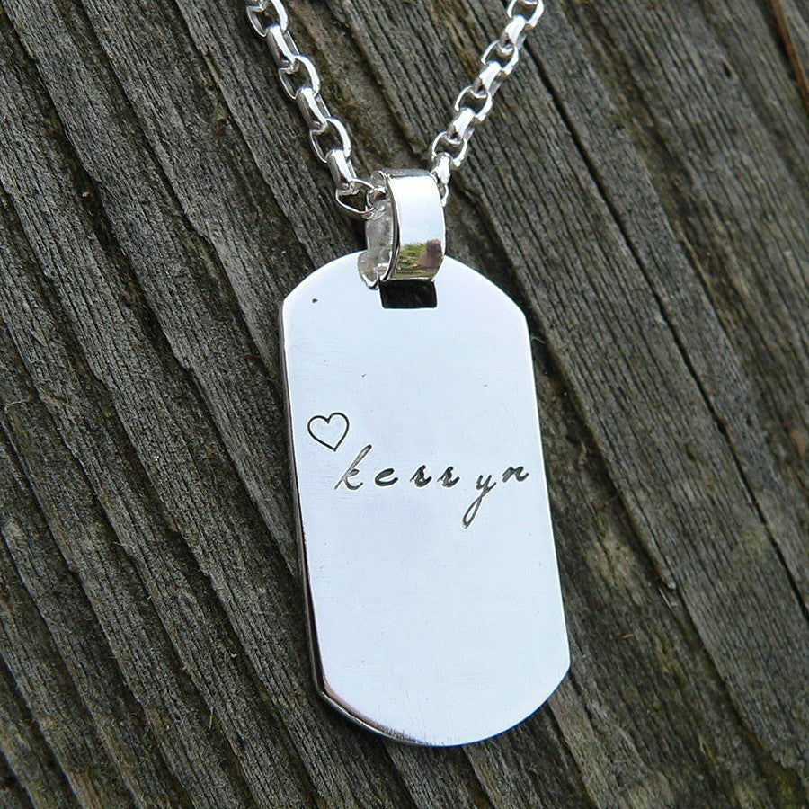 Custom Thick Sterling Men's Dog Tag Adoption Necklace