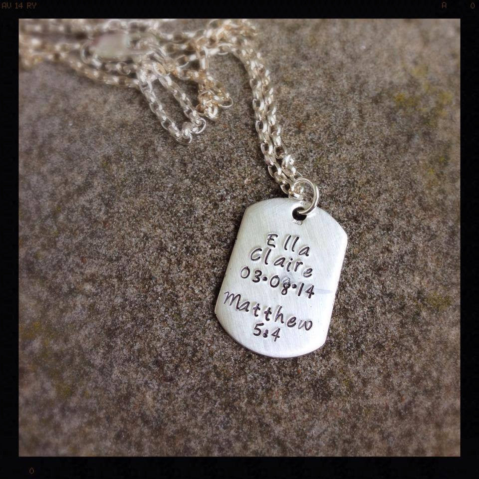I Wear Your Footprint - Sterling Dog Tag Pendant Customized with Your Childs ACTUAL Footprint
