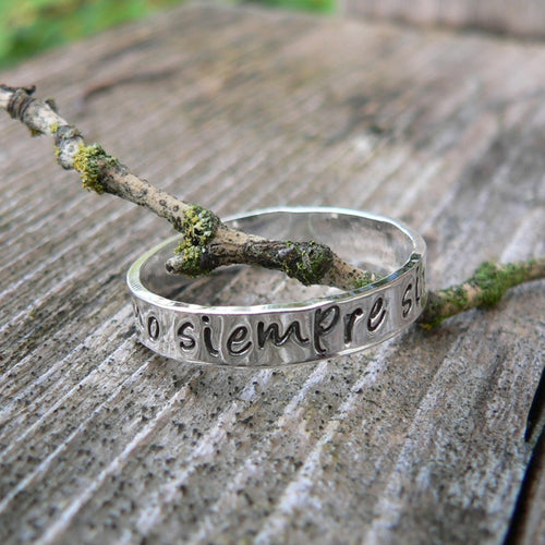 Custom Sterling Silver Hand Stamped Ring - choice of 12 fonts