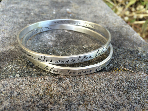 Set of TWO Heavy Sterling Silver Bangle - Personalized Inside and Outside - 14 font choices