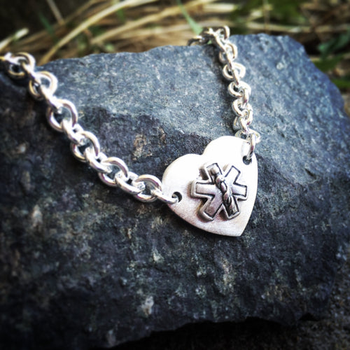 Classy, thick medical alert bracelet - sterling silver with breast cancer ribbon charm