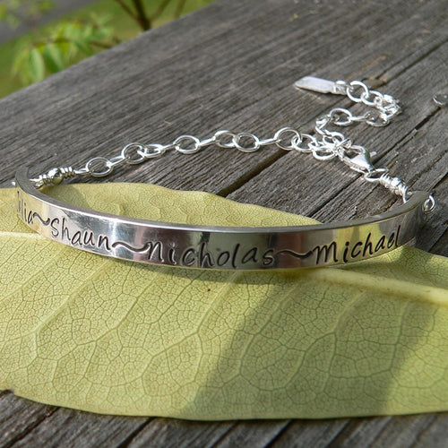 Custom Women's Demi Bracelet - 7 font choices - Solid Sterling Silver