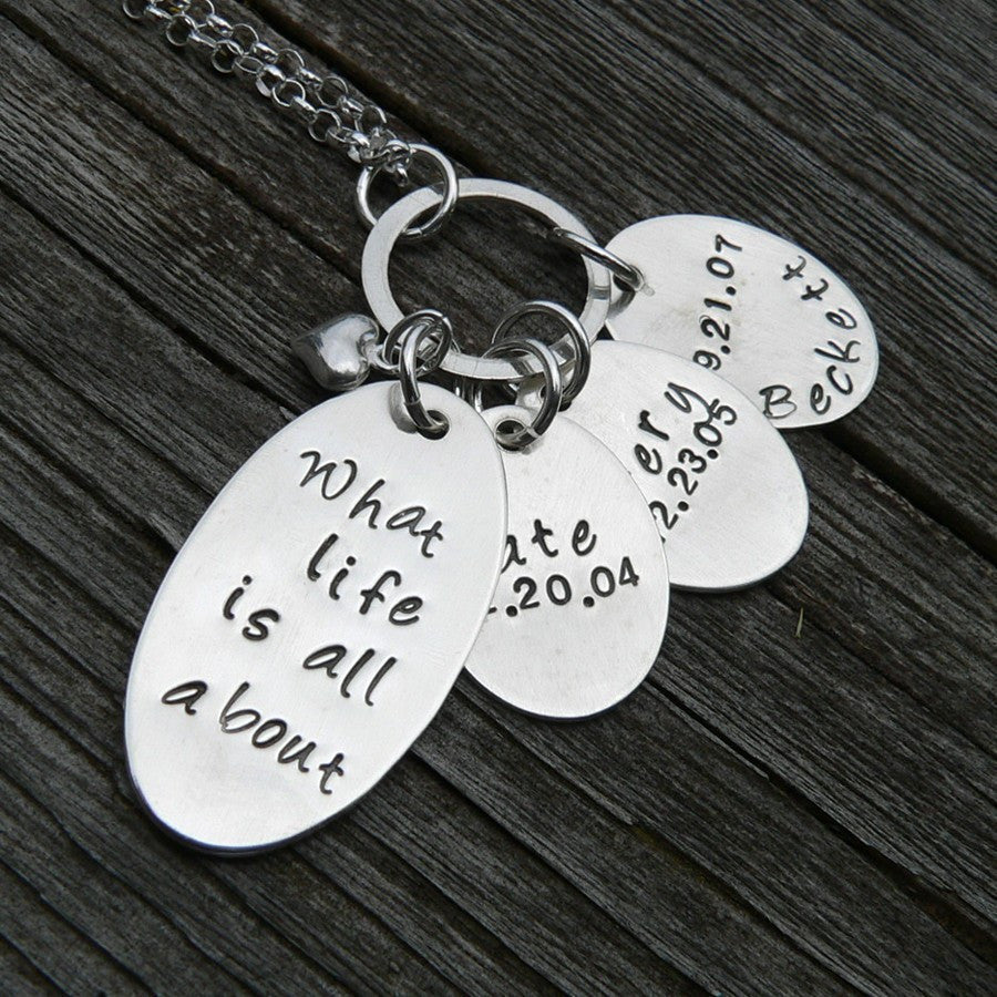 Love You Forever - Custom Engraved Mothers Necklace (3 tags)
