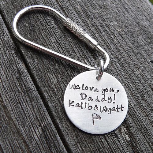 Great DAD Gift.  Mens Gift.  Custom Solid Sterling Keyring.