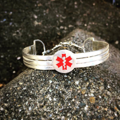 Sterling Silver 3-Tier Medical Alert Cuff - Personalized - 8 font choices