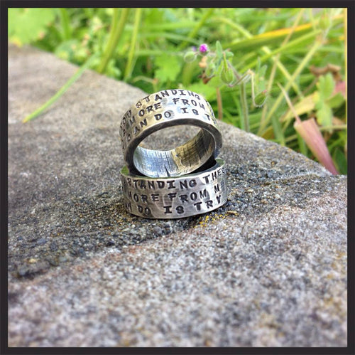 HIS and HERS - Custom WIDE Sterling Silver Hand Stamped Rings Set