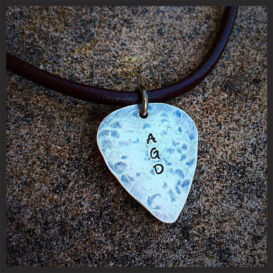 Hand-finished Solid Sterling Guitar Pick Necklace