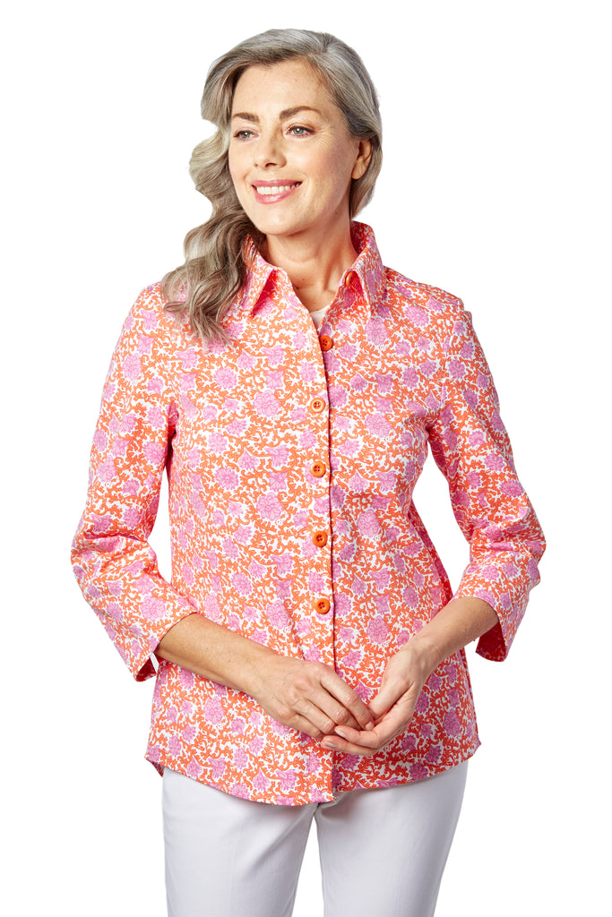 Ruth Shirt Jacket - Printed Stretch: FINAL SALE