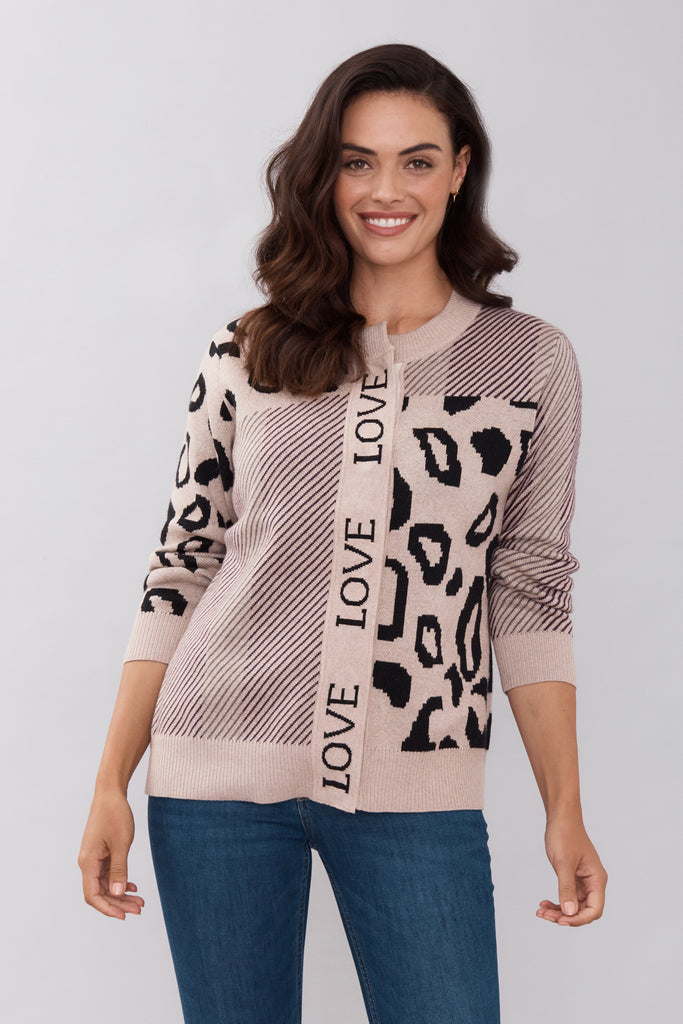 Mixed Animal Love Cardigan