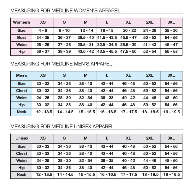 Medline Women's Mens Unisex Scrubs Sizing Chart