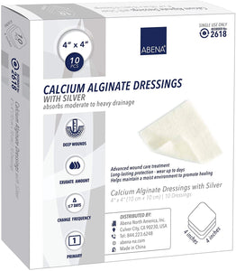 "Abena Silver Calcium Alginate Dressing, Sterile, 4"" x 4"""