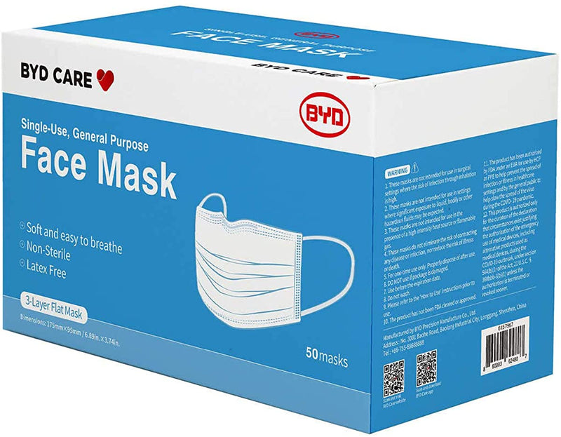 BYD CARE Single Use Disposable 3-Ply Surgical Face Mask Level 2 or Level 3, Box of 50 PCs