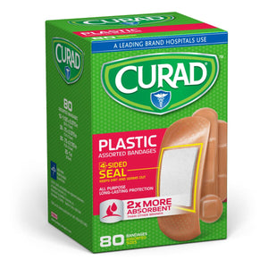 CURAD Plastic Adhesive Bandages, Plastic, Assorted Sizes