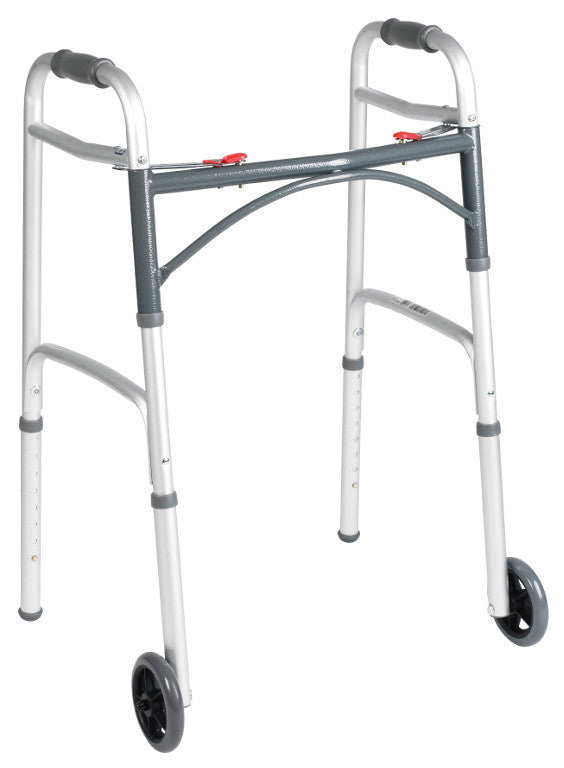 Deluxe Folding Walker, Two Button with 5