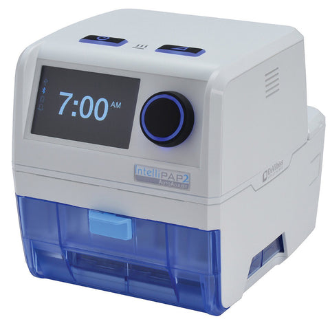 A Drive DeVilbiss Intellipap 2 CPAP machine with autoadjust feature and heated humidification system.