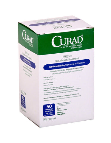 "Medline CURAD Petrolatum Gauze, Sterile, 3"" x 9"""