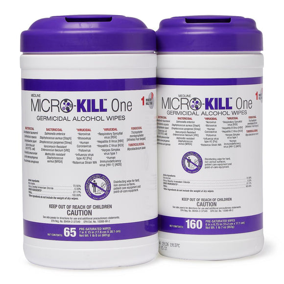 Micro-Kill One Germicidal Alcohol Wipes (160 Wipes Per Tub)