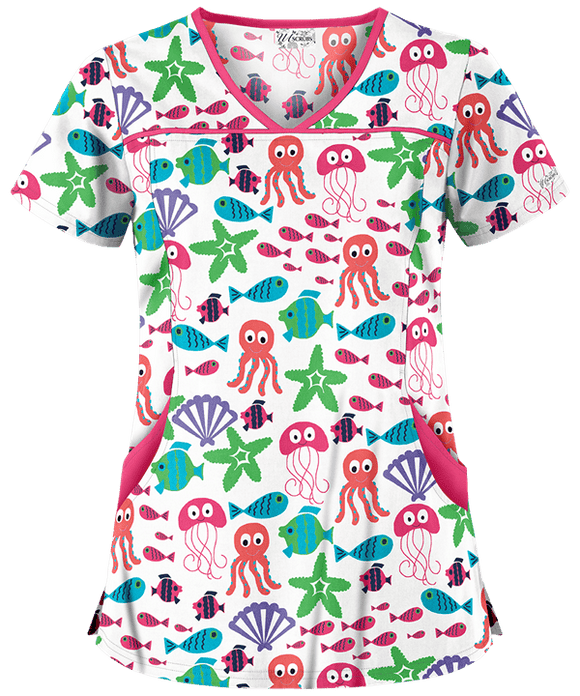 UA Octo Starfish Melon Princess Seam Print Scrub Top