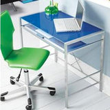 Mainstays Glass-Top Desk-Blue
